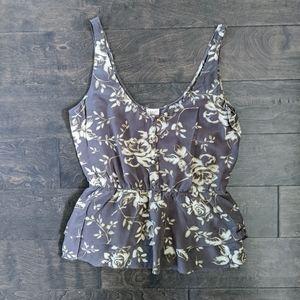 Babaton Floral Silk Peplum Tank Top
